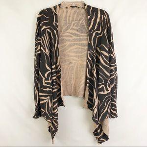 Tahari Tiger Print Open Cardigan Size XL
